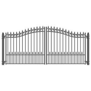 Aleko Prague Style 14 Ft X 6 Ft Black Steel Dual Driveway Fence