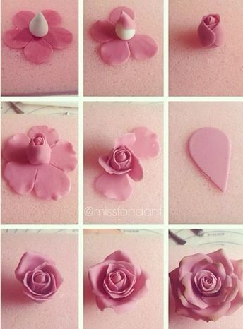 Create These Cupcakes In 4 Easy Steps Fondant Flower Tutorial Fondant Decorations Fondant Rose