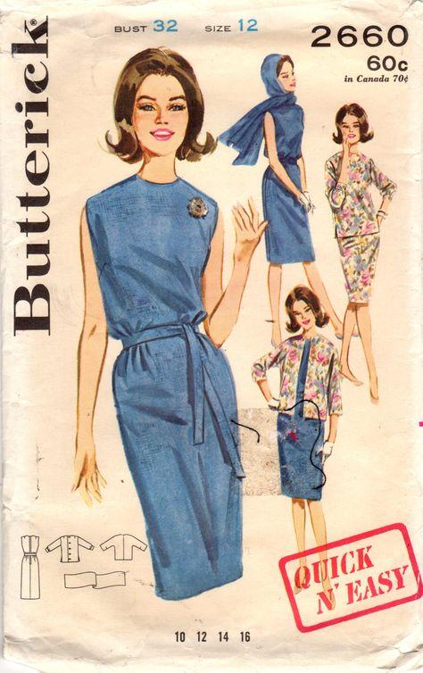 1960s Butterick 2660 Vintage Sewing Pattern Misses Sleeveless Slim Dress, Sheath, Jacket, Top, Scarf Size 12 Bust 32, Size 14 Bust 34 by midvalecottage on Etsy