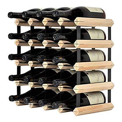 Mensolas Modern Wine Rack 20 Bottles Pine And Metal Amazon Co Uk Kitchen Home Modern Wine Rack Wine Rack Modern