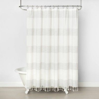 Woven Shower Curtain Stripe Railroad Gray Hearth Hand With