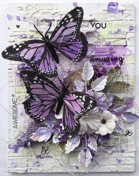 Mixed media canvas featuring Little Birdie Crafts products and my favourite colour purple All - Art interests Mixed Media Artwork, Mixed Media Collage, Collage Art, Mixed Media On Canvas, Canvas Collage, Painting Collage, Mixed Media Painting, Decoupage Vintage, Decoupage Canvas
