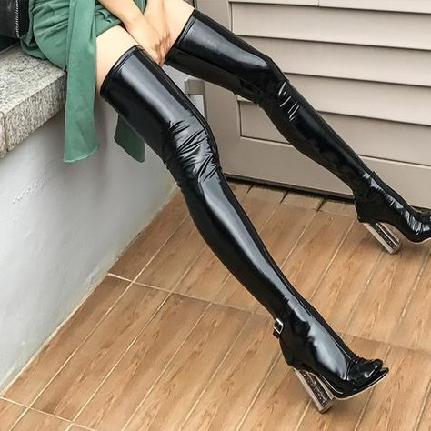Glossy Vegan Leather Thigh-Highs Black Glossy Over-The-Knee Sock Thigh High Heels, Black High Heels, High Heel Boots, Heeled Boots, High Socks, Cute Shoes, Me Too Shoes, Crotch Boots, Leather Socks