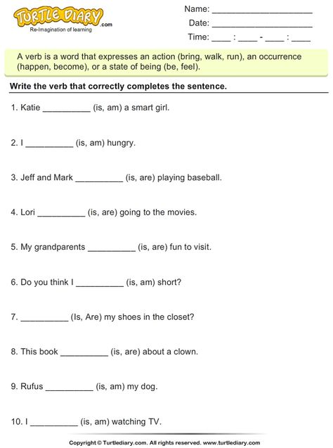 Verbs Worksheets Choose The Correct Verb Is Am Are 1 Verb Worksheets Verb Verbs Activities The verb be worksheets