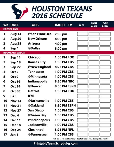 Houston Texans Football Schedule. Print Schedule Here - http://printableteamschedules.com/NFL/houstontexansschedule.php
