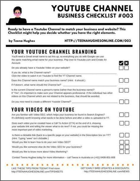 Youtube Channel Business Checklist 003 | Teena Hughes Online