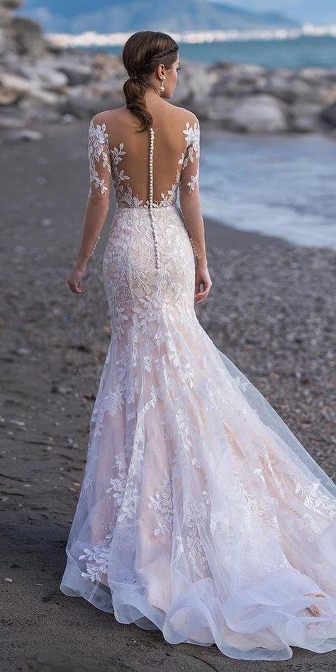 27 Stunning Trend: Tattoo Effect Wedding Dresses ❤  tattoo effecT wedding dresses fit and flare with illusion nckline buttons lace naviblue #weddingforward #wedding #bride