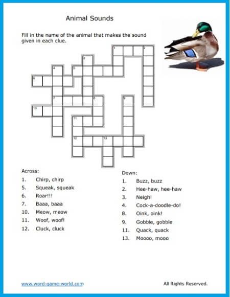 Fun Crossword Puzzle For Kids About Animals Word Puzzles For Kids Crossword Puzzle Puzzles For Kids