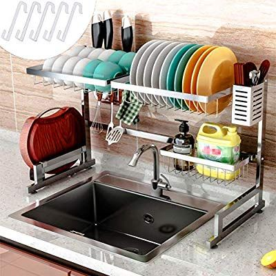 Cabina Home Dish Drying Rack Over The Sink Stainless Steel Large Dish Rack Stand Drainer For Kitchen Supplies Counter T Dish Rack Drying Kitchen Kitchen Dishes