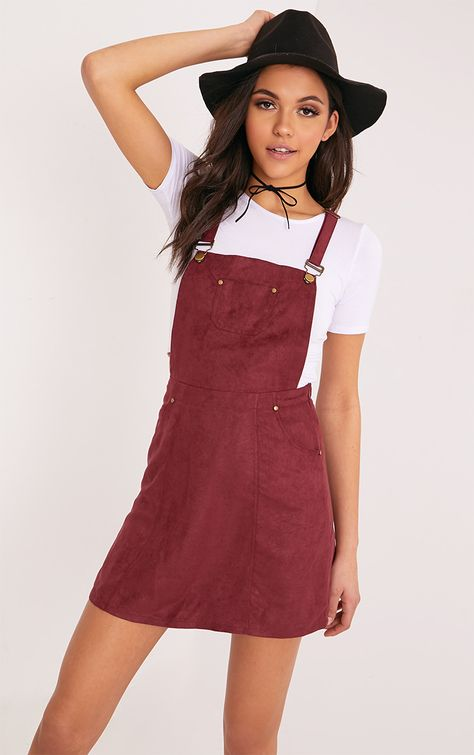 Lumie Burgundy Faux Suede Pinafore Dress Dresses