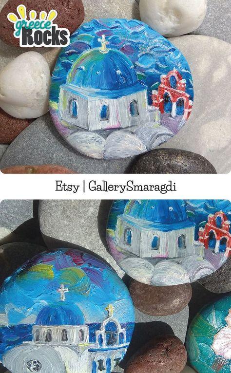 Paint rock, Painting of the Santorini Island, Greece art, fridge magnet, Greek souvenir.