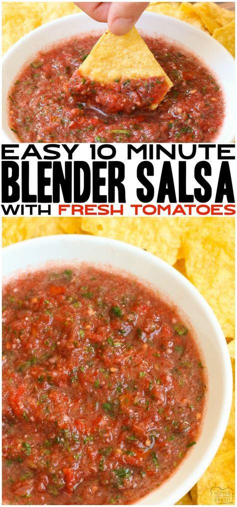 EASY BLENDER SALSA Fresh Blender Salsa made with tomatoes, cilantro, onion and lime juice made super fast in a blender! Better than restaurant homemade salsa recipe with amazing fresh flavor everyone loves. Butter With a Side of Bread Mexican Appetizers, Appetizer Recipes, Mexican Food Recipes, Healthy Recipes, Blender Recipes, Curry Recipes, Fresh Tomato Recipes, Fresh Tomato Salsa, Homemade Salsa Recipes