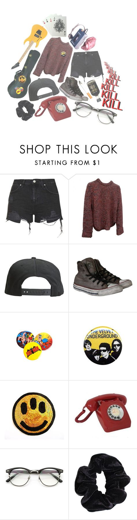 """""""i have no idea"""" by coffee-crumbs ❤ liked on Polyvore featuring Topshop, Tavik Swimwear, Converse, Forum, EXE', CO, ZeroUV, American Apparel, yellow and black"""