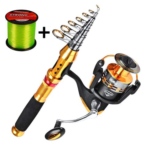 C0mdaba Fishing Rod and Reel Combos Full Kit Telescopic