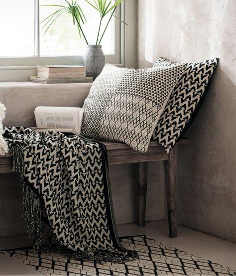 Alfombra estampada de algodón   Blanco natural/Gris antracita   Home   H&M…