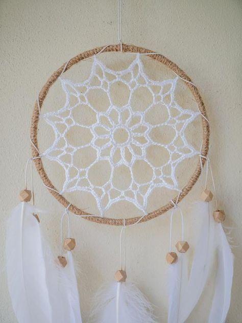 White Boho Dreamcatcher Crochet Wall Hanging Dream Catcher | Etsy