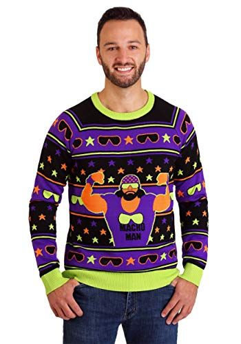 Ugly Christmas Sweaters Pinterest.Wwe Macho Man Ugly Christmas Sweater Knit Neon Colors The