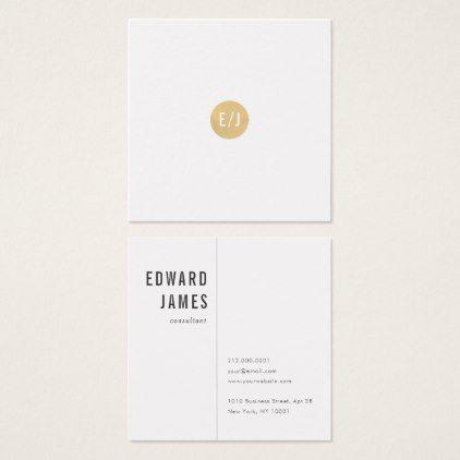 Minimal White Gold Monogram Square Business Card Zazzle Com Square Business Card Business Cards Simple Gold Monogram