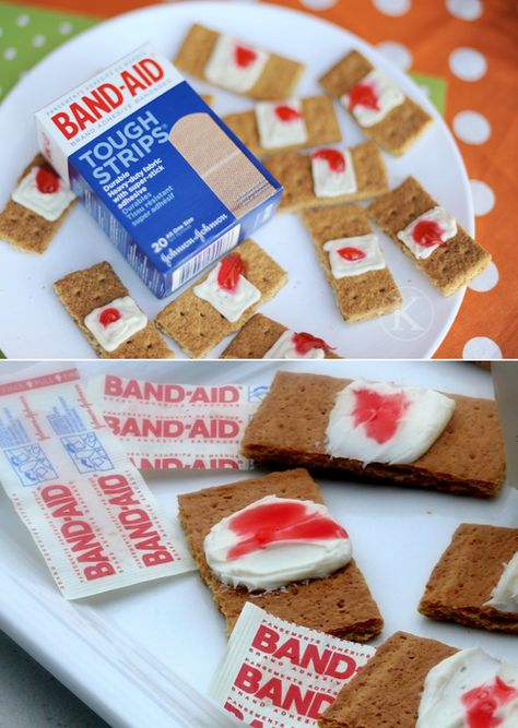 Graham crackers + cream cheese + strawberry or cherry jelly = bandaids ... This is actually really tasty with trader joe's raspberry jelly :)