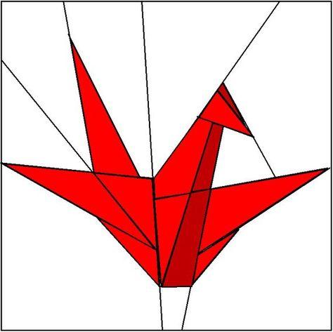 Paper Crane Paper Pieced Quilt Block Pattern Downloadable PDF