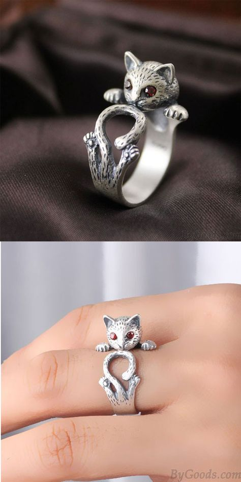 Vintage Red Eyes Lucky Cat Open 925 Silver Ring is very very cute!! #ring #cat #kitten #silver #fashion #cute