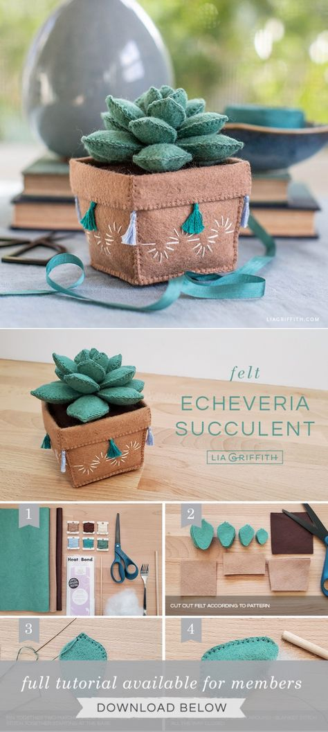 Felt Succulent - - Brighten your home with our felt echeveria succulent! We will also show you how to make the adorable felt pot it comes in. Felt Crafts Patterns, Felt Crafts Diy, Diy Crafts Hacks, Felt Diy, Crafts To Do, Fabric Crafts, Sewing Crafts, Sewing Projects, Crafts For Kids