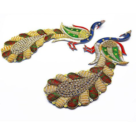 1 Pair Sewing Crafting Material Peacock Patch Decorative Embroidered Appliques