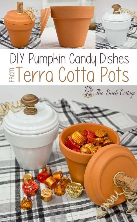 DIY Home Decor Ideas : Illustration Description How to make Pumpkin Candy Dishes from Terra Cotta Pots by The Birch Cottage -Read More – Flower Pot Crafts, Clay Pot Crafts, Crafts To Make, Easy Fall Crafts, Jar Crafts, Summer Crafts, Easter Crafts, Felt Crafts, Pumpkin Crafts