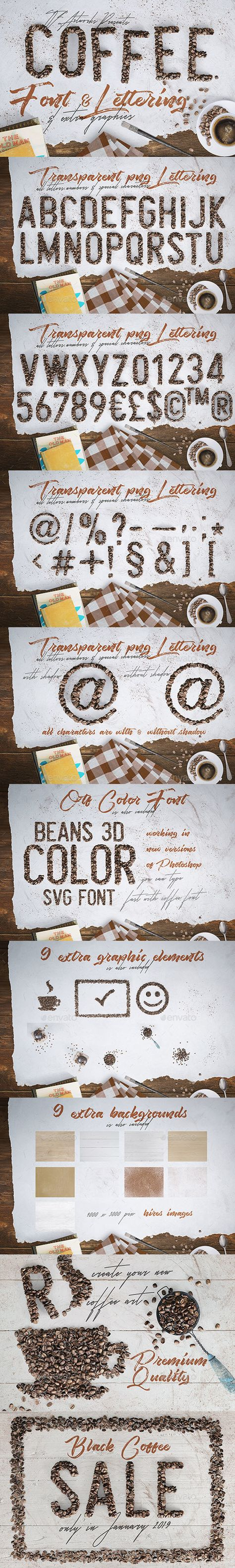 3D Graphics & Renders - Coffee Beans - Font & Lettering