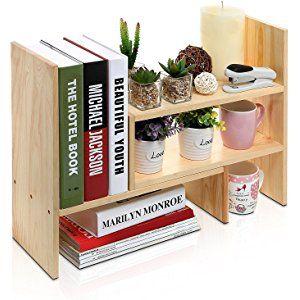 Desktop Shelves Bookshelf Desk Organizer Adjustable Countertop Bookcase Diy Table Storage Accessories Display Shelf Rack For Office Home Decor Diy Wood Desk Desktop Organization Desktop Shelf