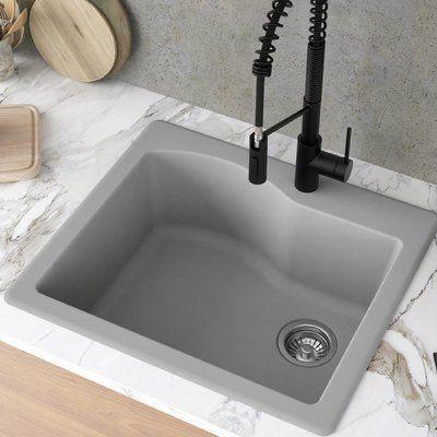 Kraus Quarza 25 L X 22 W Drop In Kitchen Sink Drop In Kitchen Sink Granite Kitchen Sinks Single Bowl Kitchen Sink