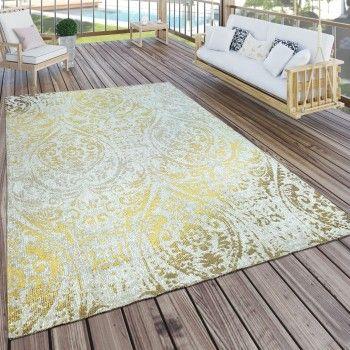 In Outdoor Teppich Im Shabby Chic Style In Gold Gelb Outdoor Teppich Gold Gelb Shabbychic Teppich Gelb Terrassen Teppiche Teppich Orient