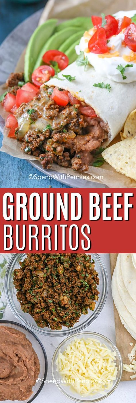 Ground burritos are a quick and easy weeknight meal. Made with taco seaosning, ground beef, and tortilla, this recipe is easily customizable with your favorite toppings! Just load them in, fold this burrito like a pro, and enjoy your authentic Mexican ground beef burrito! #spendwithpennies #groundbeefburrito #burritorecipe #Mexican #groundbeefrecipe #burrito