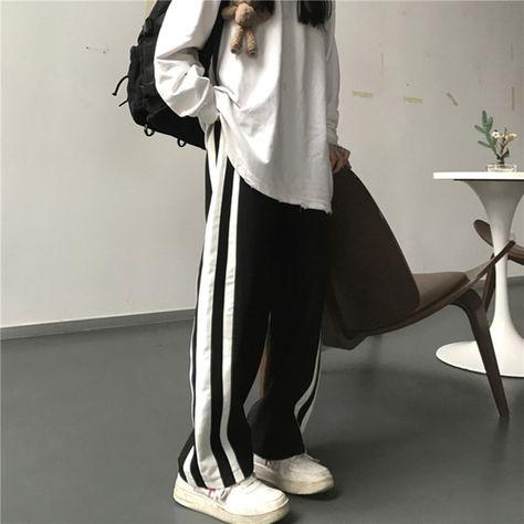11.81US $ 25% OFF Sweatpants Women Clothes Pants Streetwear 2021 Summer Fashion Korean Style Wide Leg Harajuku Baggy Black High Waisted Vintage Pants & Capris    - AliExpress