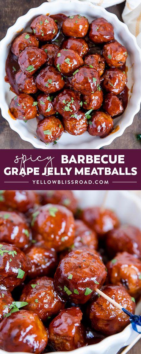 Stovetop Grape Jelly & Spicy BBQ Meatball Recipe | YellowBlissRoad.com