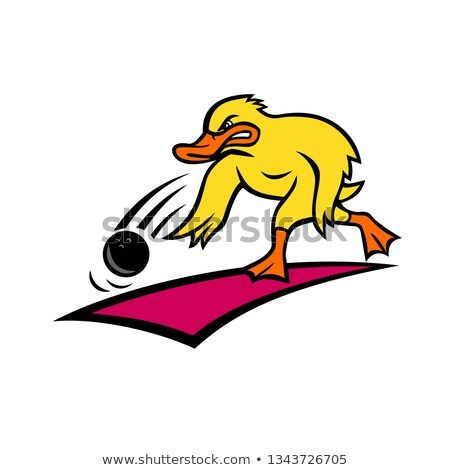 Cartoon Style Illustration Of An Angry Bowler Duck Or Mallard Rolling A Bowling Ball Down A Wood Or Synthetic Lane Viewed From Si Cartoon Styles Bowler Cartoon
