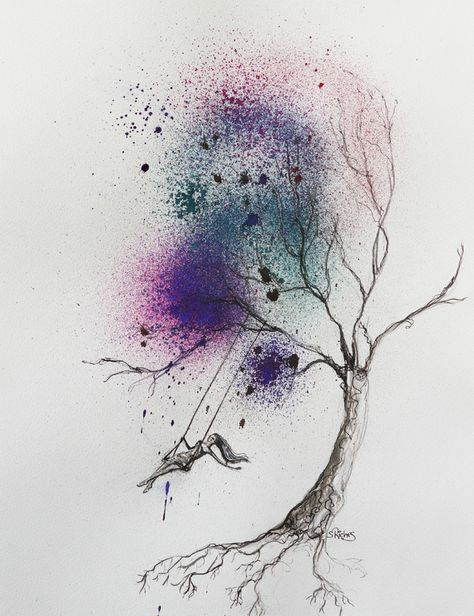 "Saatchi Online Artist: Sara Riches; Pen and Ink, 2013, Drawing ""Free Spirit"" I love watercolors and want a few watercolor tattoos. This might be an idea."