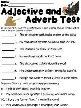 Adjective and Adverb Assessment | Adverbs, Assessment, School