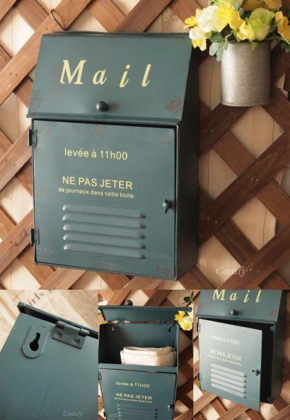 ブリキ製ポスト お洒落なブルーカラーのアンティーク調郵便ポスト