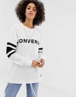 Converse Oversized Soccer Long Sleeve Top In White | Long