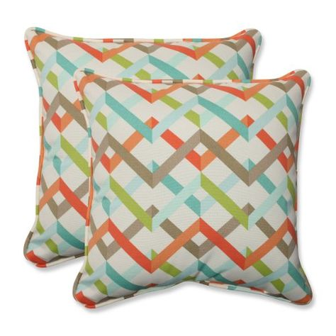 """Set of 2 Laberintos Del Galón Blue, Orange and Brown Outdoor Corded Square Throw Pillows 18.5"""" CC Outdoor Living http://www.amazon.com/dp/B00O05H202/ref=cm_sw_r_pi_dp_lOYJvb1BF5658"""
