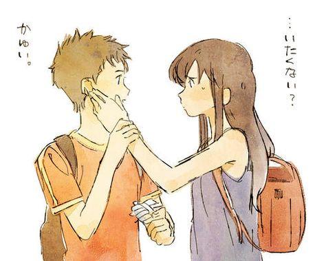 Yuki touching his ear lol. -- Japanese movies, Wolf Children, comic, fan art, characters, cute romantic relationship, couple