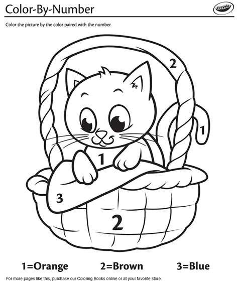 Kitten In A Basket Color By Number Coloring Page Crayola Com Free Coloring Pages Coloring Books Coloring Pages
