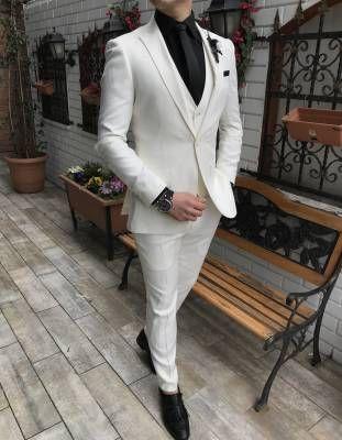 Terziademaltun Italyan Stil Slim Fit Ceket Yelek Pantolon Beyaz Takim Elbise T3306 Takim Elbise Blazer Ceket Stil