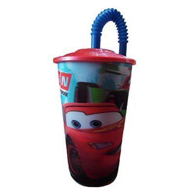 fréquent super mignon plusieurs couleurs Gobelet + paille Cars Disney verre plastique enfant ...