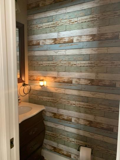 Nuwallpaper Old Salem Vintage Wood Peel And Stick Vinyl Strippable Wallpaper Covers 30 75 Sq Ft Nu2188 The Home Depot Pallet Wall Bathroom Wood Feature Wall Vintage Wood