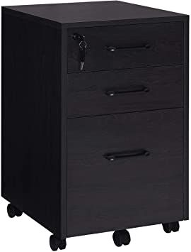 Fully Assembled Except Casters Black Vicllax 3 Drawer Mobile Office File Cabinet Lockable Under Desk Storage for Home Office