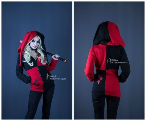 Harley Quinn inspired hoodie by HelenQuila on DeviantArt- want this for Halloween!