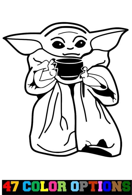 The Mandalorian Baby Yoda Baby On Board Baby Yoda Black And White Outline In 2020 Star Wars Art Yoda Drawing Custom Vinyl Decal