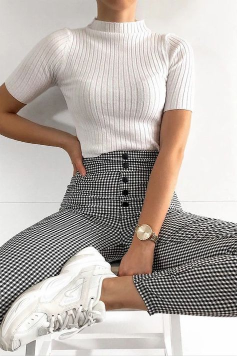 black and white gingham front buttons slim leggings pants – Lupsona